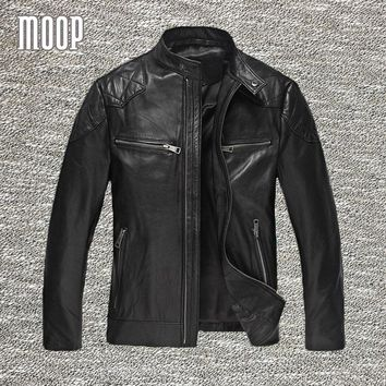Genuine leather jacket men lambskin coats motorcycle jackets chaqueta moto hombre veste cuir homme cappotto free shipping LT108