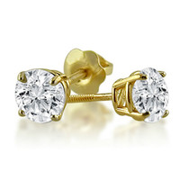 1ct Diamond Stud Earrings in 14K Yellow Gold with Screw Backs