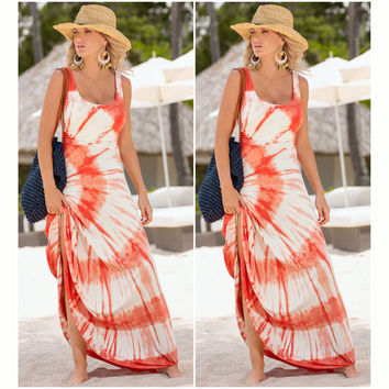 Orange Dye Pattern Sleeveless Maxi Dress