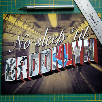 Beastie Boys Poster No Sleep Till Brooklyn Hip Hop Art New York Wall Art Music Typography Song Lyric Poster Dorm Room Decor Audiophile
