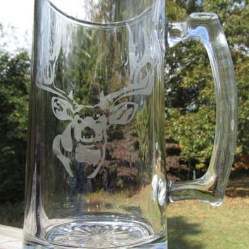 Personalized / Etched Glass / Beer Stein Mug / w/ Huge Mule Deer / Makes a Great Gift for Hunters / Outdoorsman