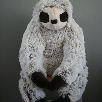 Philip Sloth, white/black light big and fluffy plush with magnetic paws, made to order