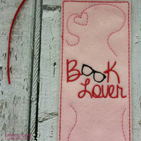 Book Lover embroidered bookmark, book mark, valentines day, love, gift, reading, read, page holder, learning, education