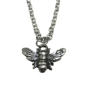 Silver Toned Textured Bee Bug Insect Pendant Necklace