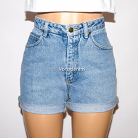 Vintage High Waisted Denim Shorts, Cuffed or Un-Cuffed Shorts, Hipster Grunge Shorts, Summer, Plus Size Denim Shorts