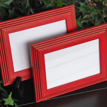 Set of 2 vintage country cottage chic red 4x6 hand-painted wood wall collage gallery picture frames