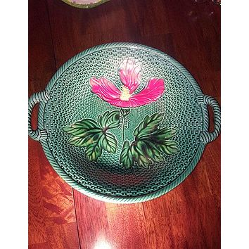 LDBC German Majolica Handled Dish By Zell With Red Hibiscus