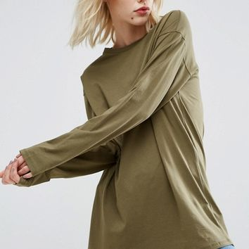 ASOS Long Sleeve Longline T-Shirt at asos.com