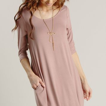 Kayla Mauve Shift Dress with Pockets