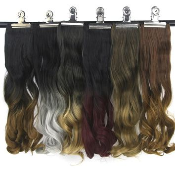 Soowee 20 Colors Curly Burgundy Gray Ombre Hair High Temperature Fiber Synthetic Hairpiece Clip In Hair Extensions Pad