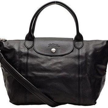 Longchamp Bags Longchamp 1512 737 001 Le Pliage Cuir Shoulder Bag Noir - Beauty Ticks