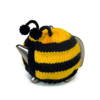 Bee tea cosy knitted novelty tea cozy Spring teapot cosie knitted in bright yellow and black with pom poms