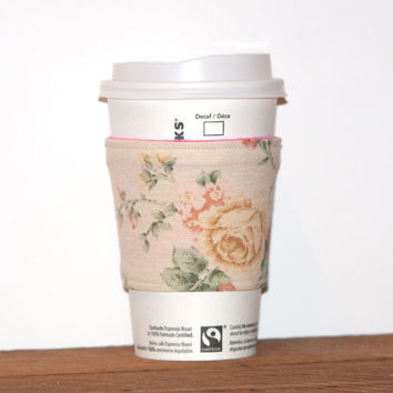 Fabric Coffee Cozy - Coffee cup sleeve - Eco friendly cozy - OOAK - Floral mug cozy - Roses Rose themed cozy - Hot pink lining - Reversible