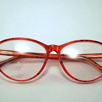 Vintage 80s PUMA Secretary Style Cherry Red Frames/Glasses.