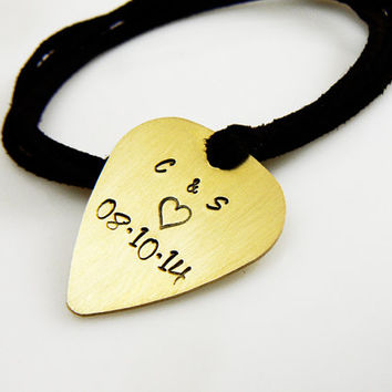 Guitar Pick Jewelry, Customized Guitar Pick Necklace, Hand Stamped, Boyfriend, Girlfriend Gift