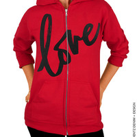 Love - Valentine's Day - Red with Black Zip Up Hoodie