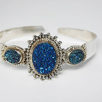 Sterling Silver Cuff Bracelet with Blue Druzy Ovals Accents - Mystical Sterling Band - Signed STS 925 - Retro Modern Vintage 1990's