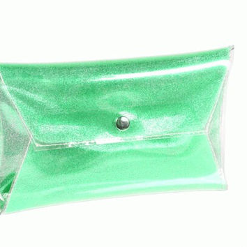Green clear clutch glitter bag handbag sparkle purse  prom sparkle bag party bag bag metallic hanbags party elegant bag vinyl event purse