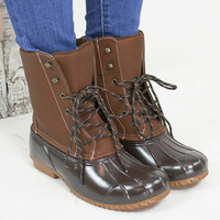 Rubber Lace Up Rugged Boot