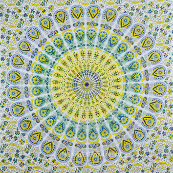 Twin Size White Psychedelic Hippie Bohemian Trippy Tapestry Wall Hanging on RoyalFurnish.com