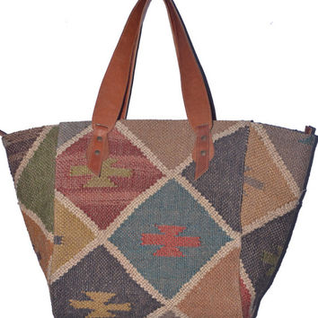 Wool Jute Killim Rug Handmade Bags,Leather Handle,Shoulder Hanging Bag,Rug Purse,Indian Traditional Bags,Father's Day Special Gifted Purse