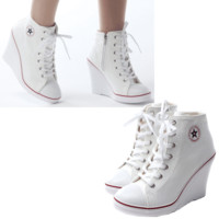 New Womens Shoes Canvas High Top Wedge Heel Lace Up Fashion Sneakers Us 5.5~8