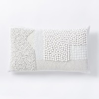 Mixed Beaded Pillow Cover - White