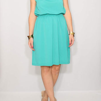 Short Dress Mint Blue Bridesmaid Dress Chiffon Dress Keyhole dress Party Dress