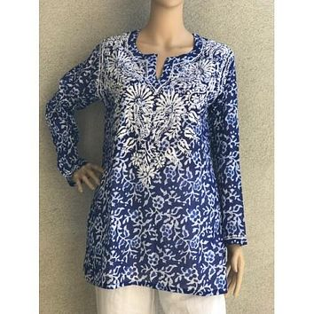 Women's Embroidered Tunic Top in Royal Blue