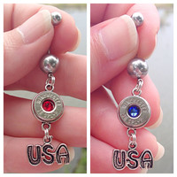 Bullet belly button ring. 4th of July jewelry. Red white & blue