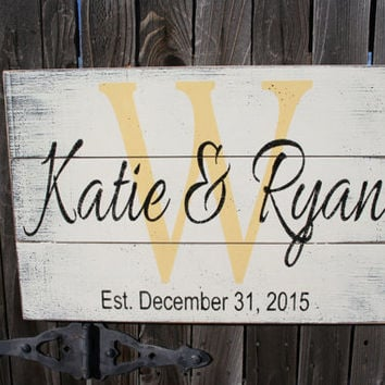 Name Sign Pallet Sign Initial Sign Personalized Name Sign Wedding Gift Bridal Shower Gift Housewarming Gift Anniversary Gift Wall Decor