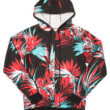 Tropical Floral Zip-Up Hoodie