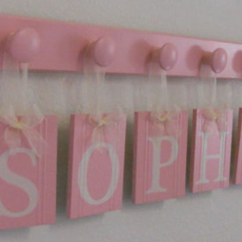 Baby Nursery Wall Art Personalized Names Sign Custom Kids Hanging Wood Letters Set Includes 6 Hooks Painted Light Pink - Gift for SOPHIE