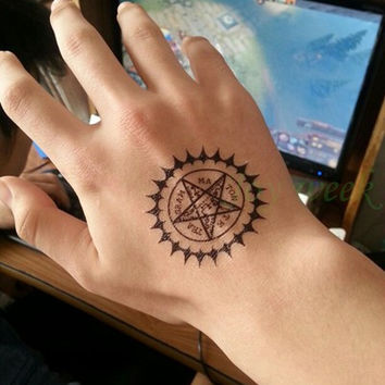 Black Compass Temporary Tattoo