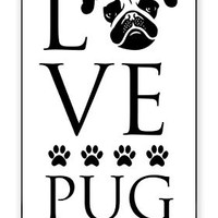 Love Pug Dog Direct Print (not a sticker) iPhone 4, 4s Quality TPU SOFT RUBBER Snap On Case for iPhone 4 - AT&T Sprint Verizon - White Case