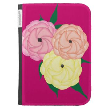 Gardeners Choice Whimsical Roses Floral Graphic Kindle Keyboard Case
