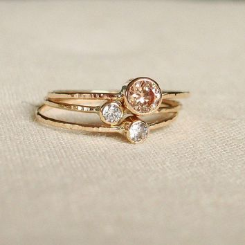 BACKORDERED - Sparkling Threads of Gold - Set of Three Tiny Stack Rings with 14k Gold Set Faceted Stones - Delicate