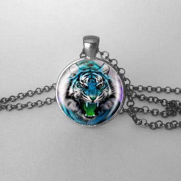 Tiger Pendant, Tiger Necklace, Fierce Rainbow Wild Animal Jewelry Colorful