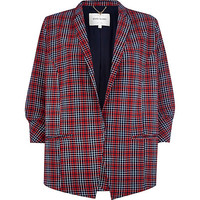 River Island Womens Red plaid lightweight crepe blazer