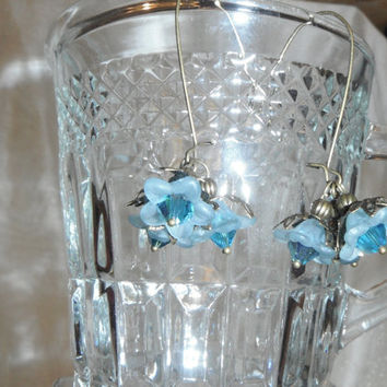 Blue Flower  Earrings on Brass Kidney Ear Wires Trio Lucite Dangle Gift fashion under 20
