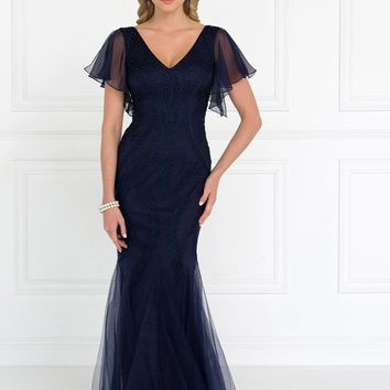 Navy evening gown with sleeves  gls 1576