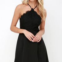 Pleats and Thanks Black Lace Skater Dress
