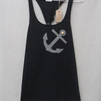 Women's Dotty Anchor Top Handmade Black Cotton Racerback Tunic Vest Tank Top
