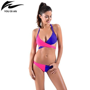 Bikini 2016 Sexy Bikinis Swimwear Women Swimsuit Low Waisted Bathing Suit High-quality Two-color Crossed Stitching Bikini  Wome