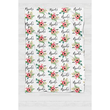 Personalized Swaddle - Red and green Botanical