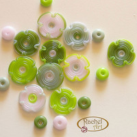 Lampwork Beads Set, Lampwork Flower Glass Beads, Handmade Lampwork Glass Beads Disc (18 )