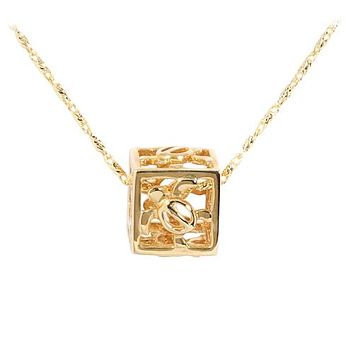 14KT Yellow Gold Cubic Honu Pendant