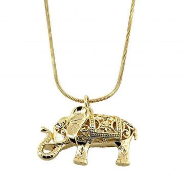 Gold Layered Fancy Necklace, Elephant and Rat Tail Design, with Crystal, Golden Tone