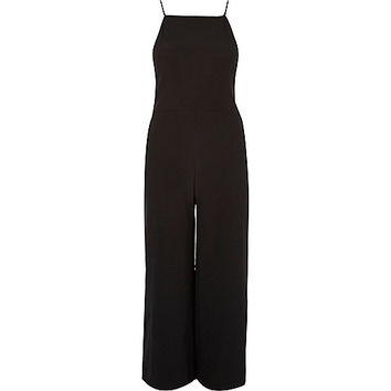 Black square neck culotte jumpsuits