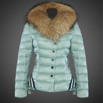 Moncler Navy Women Down Simple Buttons Coats
